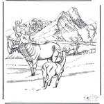 Ausmalbilder Tiere - Hirsche im Schnee