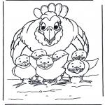Allerhand Ausmalbilder - Huhn mit Küken