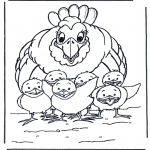 Ausmalbilder Tiere - Huhn mit Kükens
