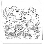 Ausmalbilder Themen - Hühner mit Eier