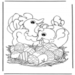 Ausmalbilder Themen - Hühner mit Ostereier