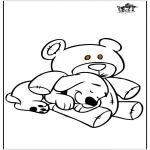 Ausmalbilder Tiere - Hund und Bär