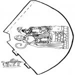 Basteln Stechkarten - Hütchen Sankt Nikolaus 2