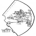 Basteln Stechkarten - Hütchen Sankt Nikolaus