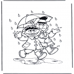 Ausmalbilder für Kinder - Im Regen