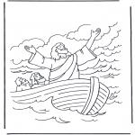 Bibel Ausmalbilder - Jesus auf dem Wasser 1
