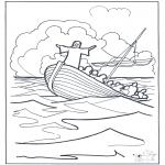 Bibel Ausmalbilder - Jesus auf dem Wasser 2