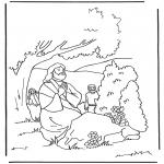 Bibel Ausmalbilder - Jesus betet im Garten
