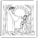 Bibel Ausmalbilder - Jesus und die kranke Frau