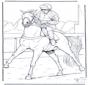 Jockey auf Pferd