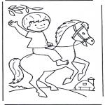 Ausmalbilder Tiere - Junge auf Pferd
