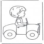 Ausmalbilder für Kinder - Junge in Auto