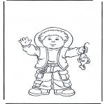 Ausmalbilder für Kinder - Junge mit Fisch