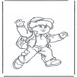 Ausmalbilder für Kinder - Junge mit Tüte