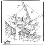 Bibel Ausmalbilder - Jünger fischen