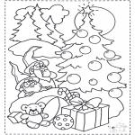 Ausmalbilder Weihnachten - Kabauter und Weihnachtsbaum
