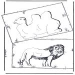 Ausmalbilder Tiere - Kamel und Löwe