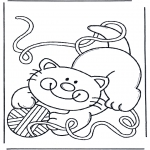 Ausmalbilder Tiere - Katze mit Wollball