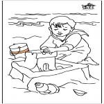 Ausmalbilder für Kinder - Kind am Meer