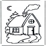 Ausmalbilder für Kinder - Kinder Häuschen