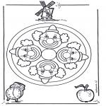 Malvorlagen Mandalas - Kindermandala malen
