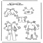 Malvorlagen Basteln - Kleider Anziehpuppe 1