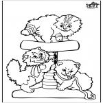 Ausmalbilder Tiere - Kleine Katzen