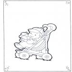 Ausmalbilder für Kinder - Knirps in Buggy