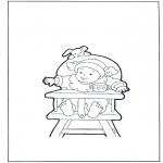 Ausmalbilder für Kinder - Knirps in Sessel