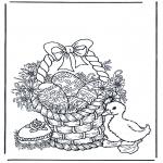 Ausmalbilder Themen - Korb mit Ostereier