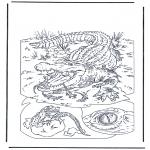 Ausmalbilder Tiere - Krokodil 1