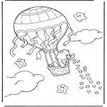Ausmalbilder für Kinder - Kuschelbärchen in Ballon