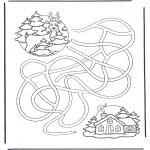 Ausmalbilder Weihnachten - Labyrinth Rudolph