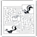 Malvorlagen Basteln - Labyrinth Stinktier