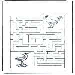 Malvorlagen Basteln - Labyrinth Vögel