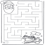 Malvorlagen Basteln - Labyrinth Weihnachtsmann