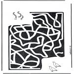 Malvorlagen Basteln - Labyrinth  Würmer