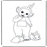 Ausmalbilder für Kinder - Lala mit Kaninchen