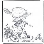 Allerhand Ausmalbilder - Laufen mit der Harke