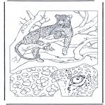 Ausmalbilder Tiere - Leopard 1