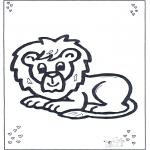 Ausmalbilder Tiere - Liegender Löwe