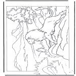 Ausmalbilder Tiere - Löwen am Fels