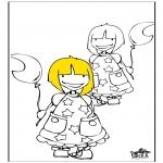 Ausmalbilder für Kinder - Mädchen 1
