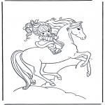 Ausmalbilder Tiere - Mädchen auf Pferd