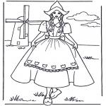 Allerhand Ausmalbilder - Mädchen bei der Mühle