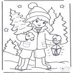Malvorlagen Winter - Mädchen mit Baum