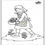 Ausmalbilder für Kinder - Mädchen mit Blumen