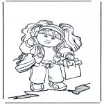 Ausmalbilder für Kinder - Mädchen mit Handy