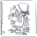 Allerhand Ausmalbilder - Mädchen mit Puppe