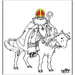 Basteln Stechkarten - Malvorlage Sankt Nikolaus 3